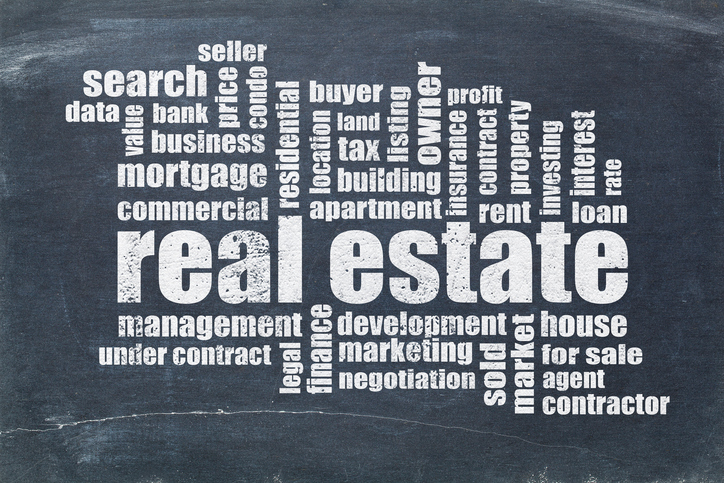 real estate word cloud - white chalk text on a vintage blackboard