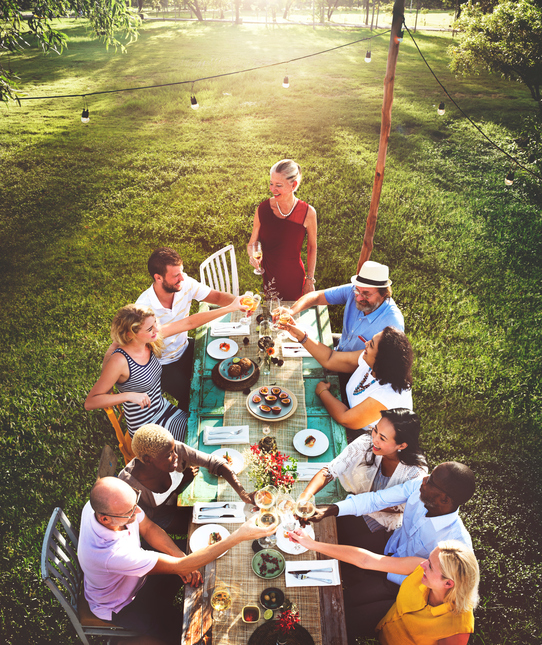 Friends Dining Outdoor Nature Garden Concept